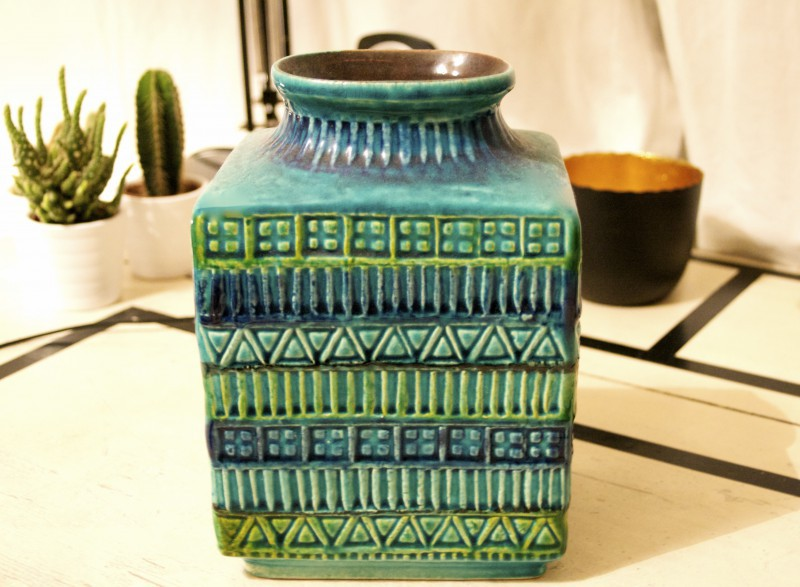 Green vintage vase by Bay Keramik