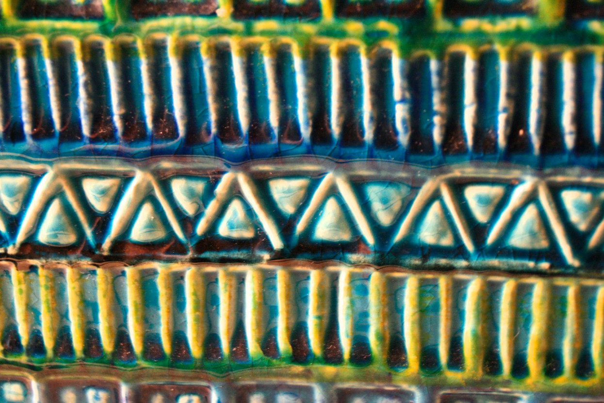 Close up on the patterns of a Bay Keramik vintage vase